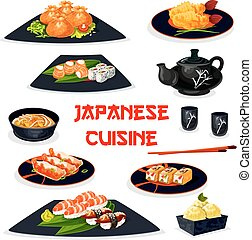Japanese cuisine icon of traditional asian food - Japanese...