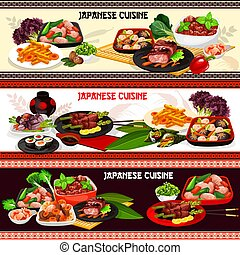 Japanese cuisine meat dishes with sauces, veggies - Japanese...
