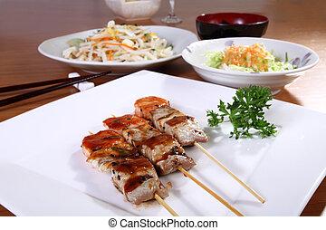 menu with skewers