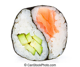 Japanese cuisine. One peace of sushi roll isolated on white background. Yin Yang.