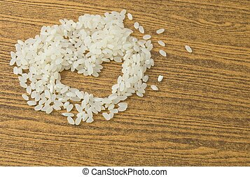 Uncooked Japanese Rice in A Heart Shape