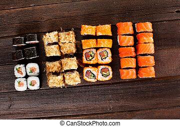 Japanese cuisine. Salmon sushi nigiri