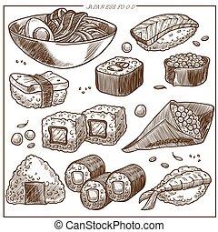 Japanese cuisine sketch vector icons set of sushi, noodels...