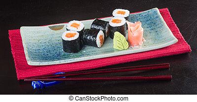 japanese cuisine. sushi on the background - japanese cuisine...