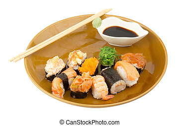 Japanese Cuisine Sushi on white background