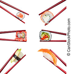 Japanese cuisine. Sushi roll and nigiri set in wooden brown chopsticks isolated on white background