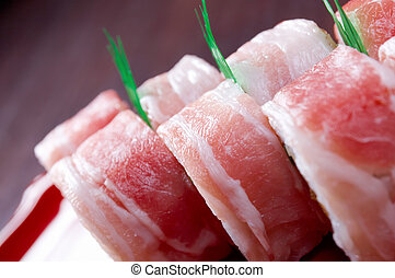 Sushi Roll with Bacon - Japanese Cuisine - Sushi Roll with ...