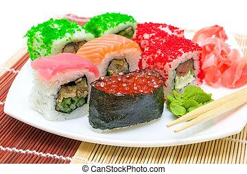 Japanese cuisine. sushi rolls close-up.