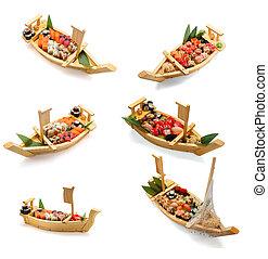 Japanese cuisine. Sushi set isolated on white background