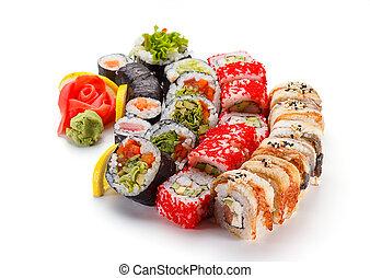 Japanese cuisine. Sushi set isolated on white background.