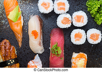 japanese cuisine. sushi set on the background - japanese ...