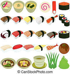 Japanese Cuisine - Sushi, Soup - A vector set of Food Icons:...
