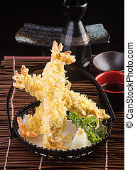japanese cuisine. tempura prawn on the background - japanese...