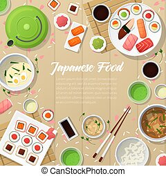 Japanese Cuisine Traditional Food with Sushi and Wasabi....