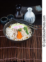 japanese cuisine. udon on the background - japanese cuisine....