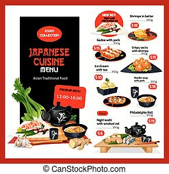 Japanese cuisine vector menu price cards template - Japanese...