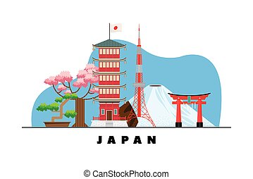 japanese culture card with landmarks