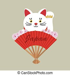 japanese culture cat lucky vector illustration design