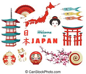 Japanese culture icons on white background - Japanese...