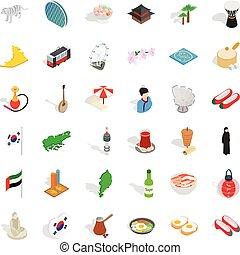 Japanese culture icons set, isometric style