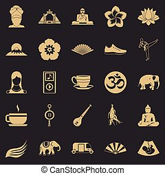 Japanese culture icons set, simple style