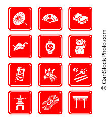 Traditional japanese culture objects red icon-set