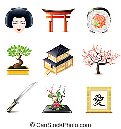Japanese culture icons vector set