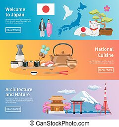 Japanese Culture Landmarks Flat Banners Set