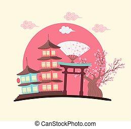 japanese culture pagoda tree and gate scene