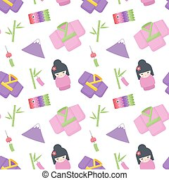 Japanese culture vector flat seamless pattern, Flat design...
