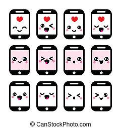 Japanese cute Kawaii phone icons - Vector icons set of ...