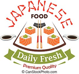 Japanese daily fresh food vector label emblem