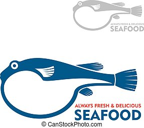 Japanese delicacy pufferfish or fugu symbol - Exotic toxic...