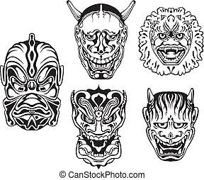 Japanese Demonic Noh Theatrical Masks. Set of black and...