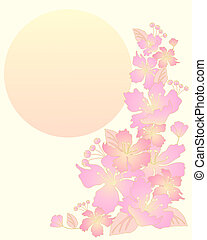 an illustration of beautiful pink and golden japanese cherry blossom with a big yellow sun and space for text