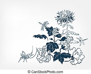 japanese design chrysanthemums dragonfly card isolated flowers