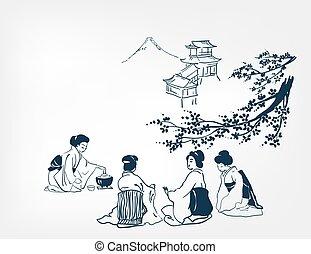 japanese design tea ceremony background women card