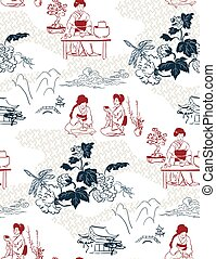 japanese design tea ceremony isolated card traditional