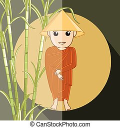 Japanese Devotee Monk Vector Illustration
