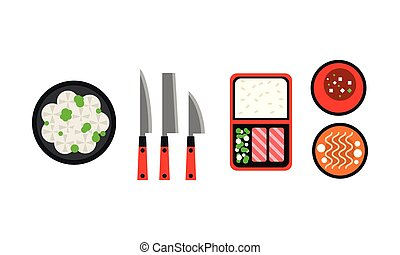 Japanese dishes icons set, traditional Asian food menu flat vector Illustration on a white background