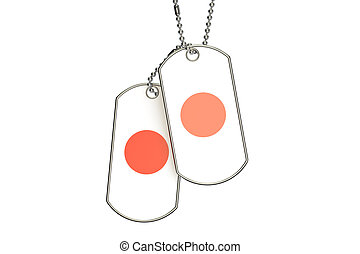 Japanese Dog Tags, 3D rendering