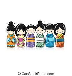 Japanese dolls, sketch for your design