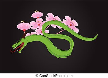 Chinese zodiac sign dragon with color geometric flowers Vector