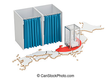 Japanese election concept, ballot box and voting booths on...