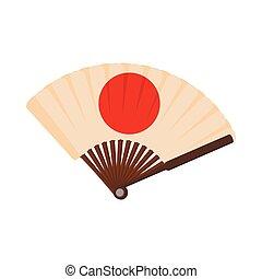 Japanese fan icon, cartoon style