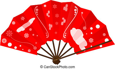japanese fan - vector japanese fan on white background
