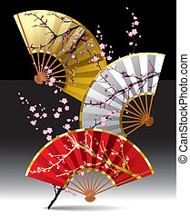 Japanese fans - vector image of three japanese fans with a ...