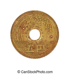Japanese five yen coin. Isolated.