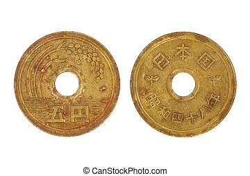 Japanese five yen coin.