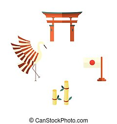 Japanese flag, bamboo, crane and torii gate icons